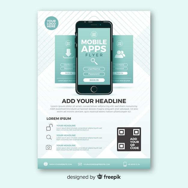 シンプルなモバイルアプリのテンプレート 無料ベクター