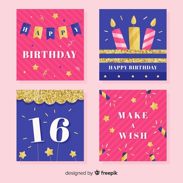 誕生日カードセット 無料ベクター