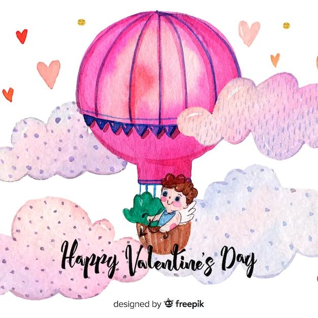 水彩の熱気球バレンタイン背景 無料ベクター