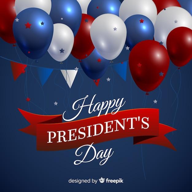 リアルな風船大統領の日の背景 無料ベクター