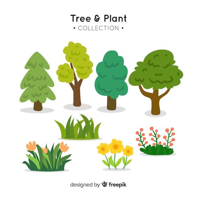 Коллекция деревьев и растений Бесплатные векторы