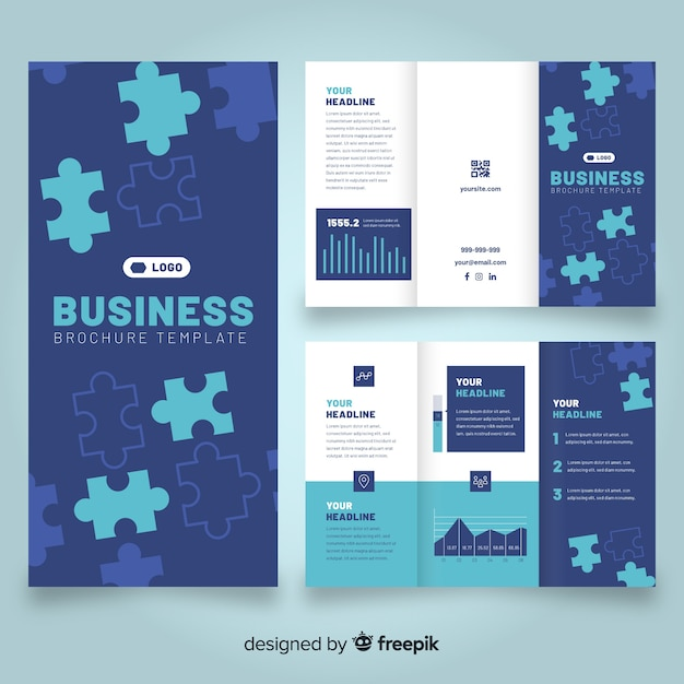 Шаблон брошюры бизнес тройной Бесплатные векторы