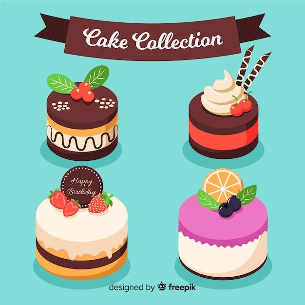 ケーキコレクション 無料ベクター