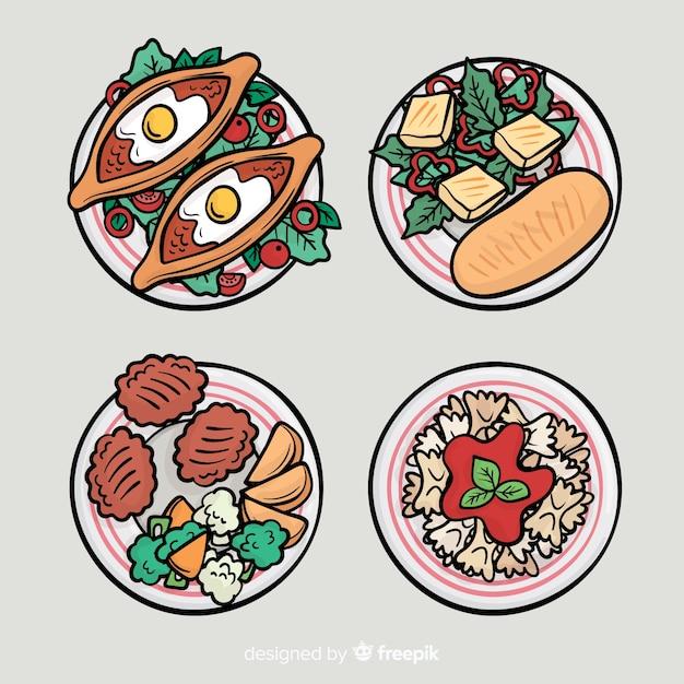 手描き食品料理コレクション 無料ベクター