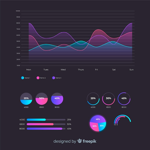 Коллекция красочных инфографики элементы Бесплатные векторы