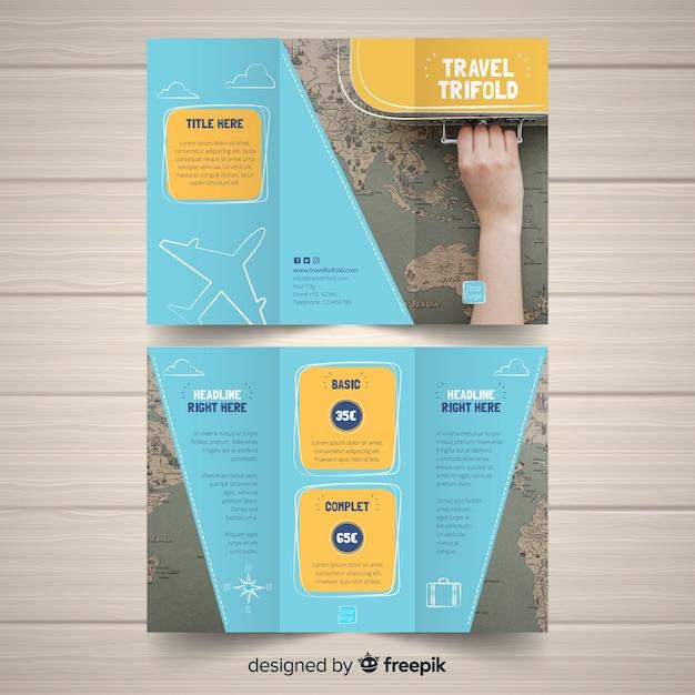 Шаблон брошюры о путешествии Бесплатные векторы