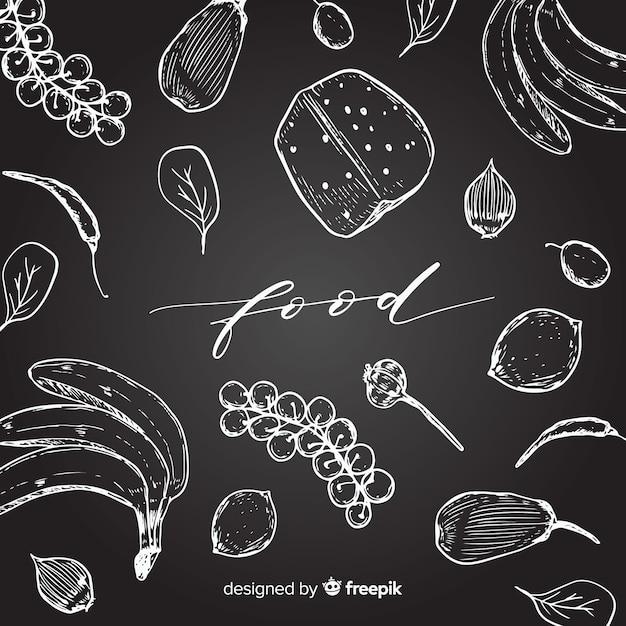 手描き食品の背景 無料ベクター