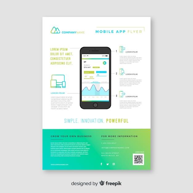 Шаблон флаера для мобильного приложения Бесплатные векторы