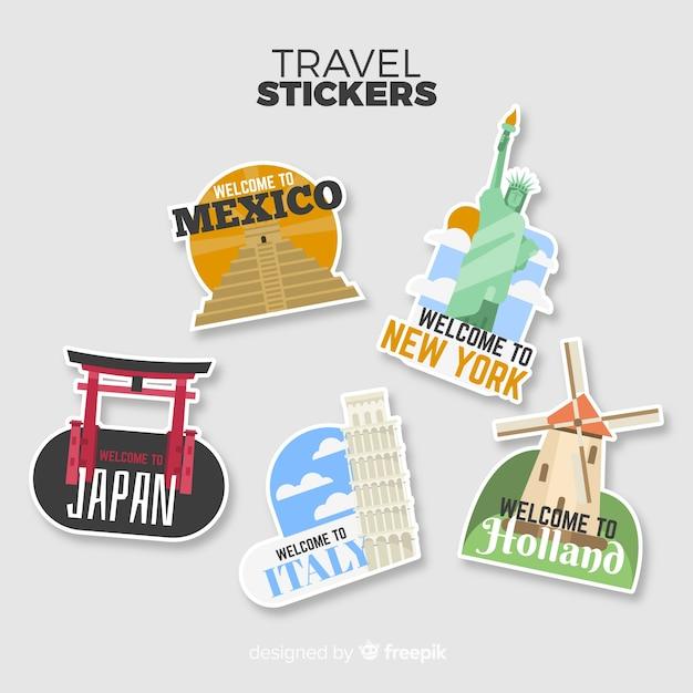 Коллекция туристических стикеров Бесплатные векторы