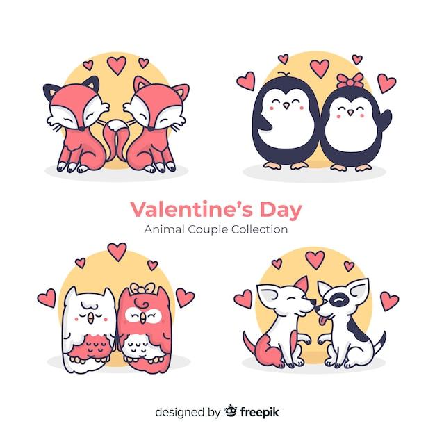 バレンタイン動物カップルセット 無料ベクター
