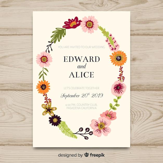 結婚式の招待カードのテンプレート 無料ベクター