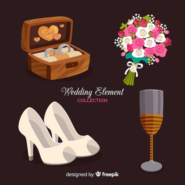 結婚式の要素のコレクション 無料ベクター