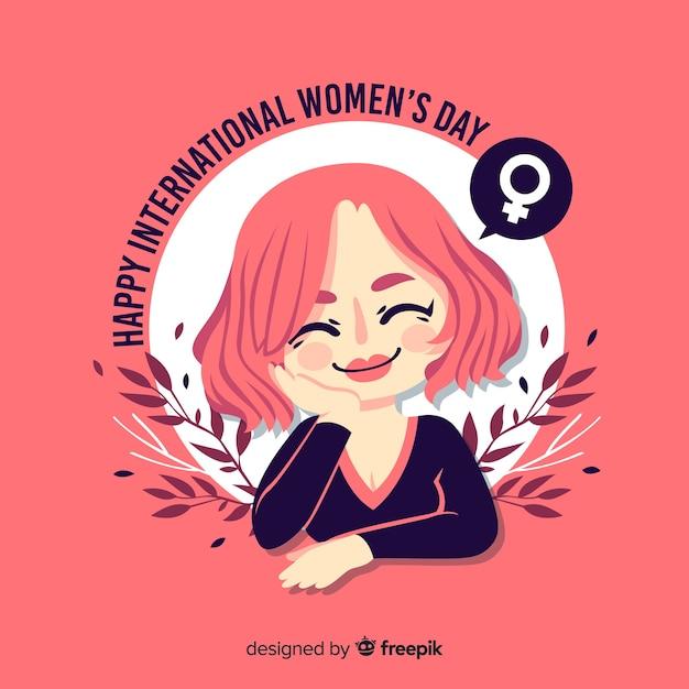 Плоский женский день фон Бесплатные векторы