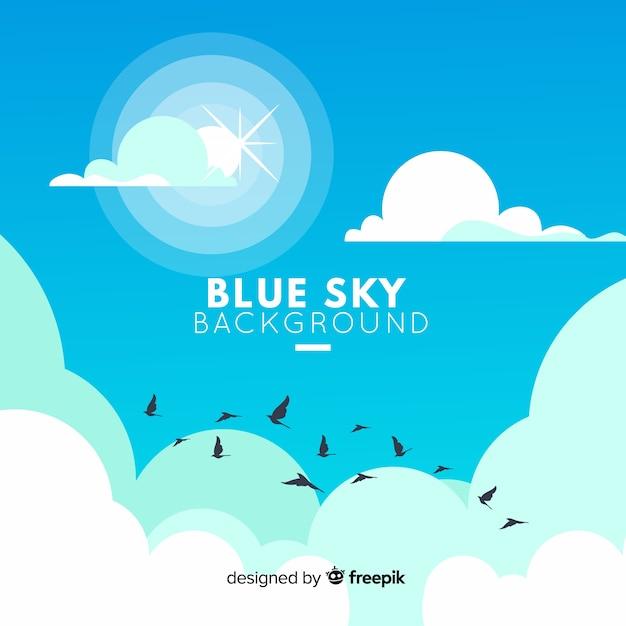 青い空を背景 無料ベクター