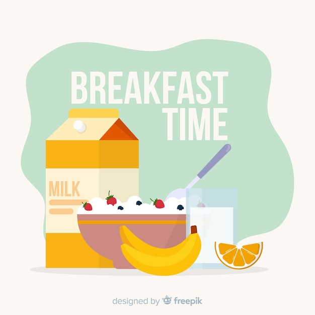 平らな朝食の背景 無料ベクター