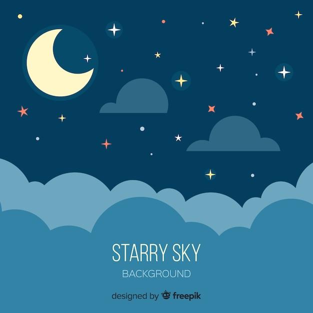 夜の星空の背景 無料ベクター