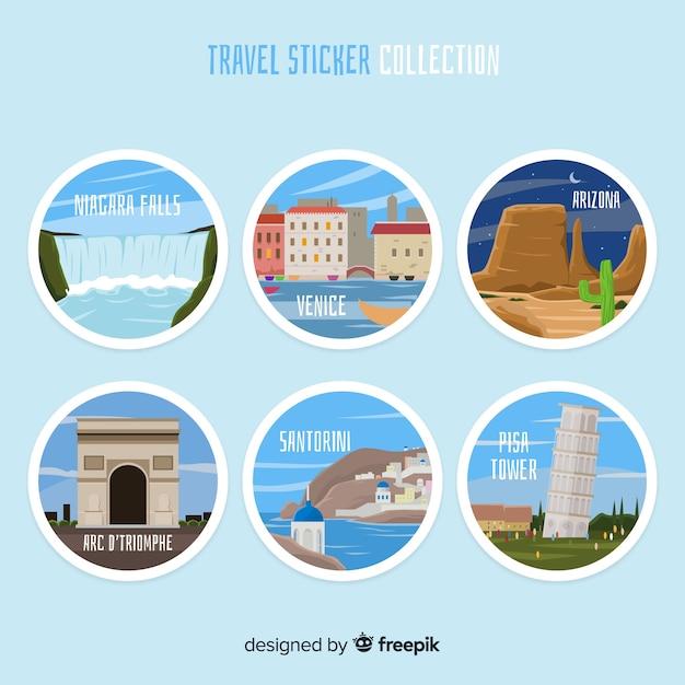 旅行ステッカーコレクション 無料ベクター