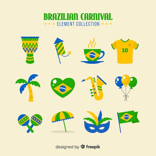 ブラジルのカーニバル要素コレクション 無料ベクター
