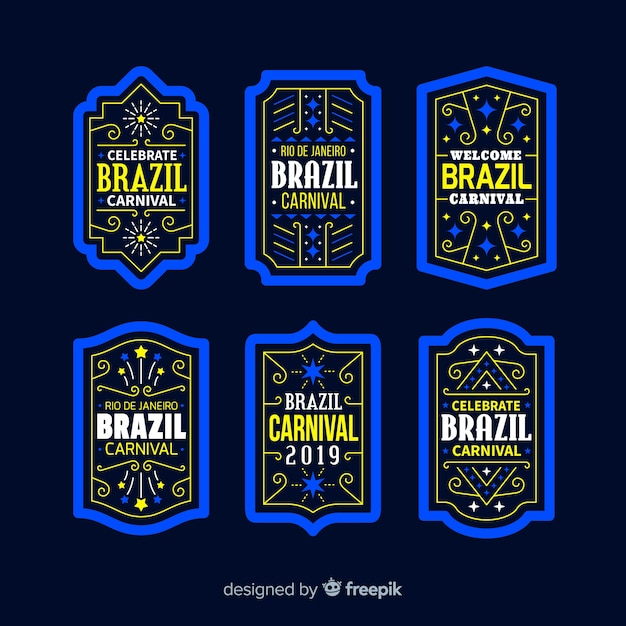 Коллекция бразильских карнавальных этикеток Бесплатные векторы