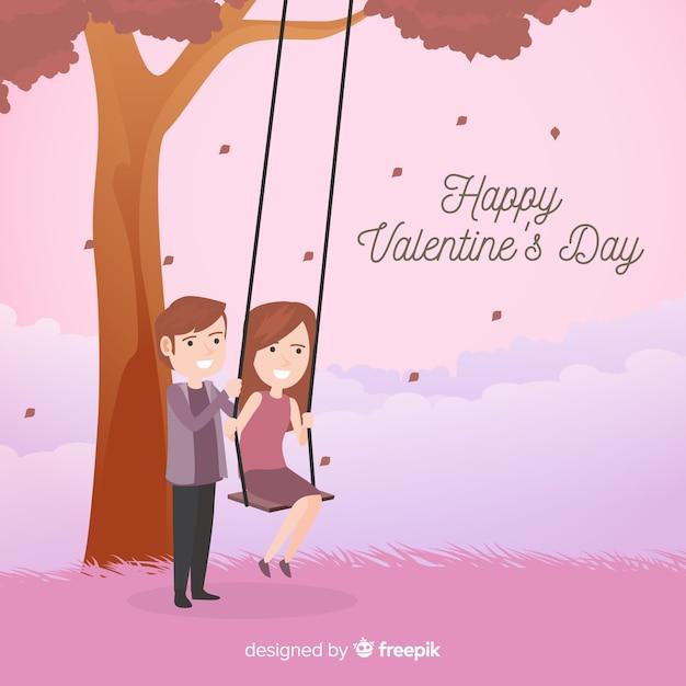 スイングバレンタイン背景で遊ぶカップル 無料ベクター
