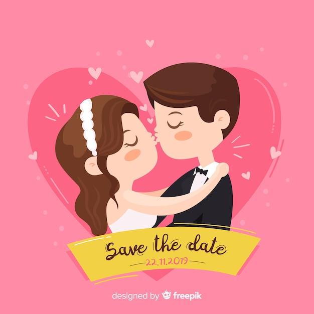 かわいいカップルとデートのピンクの背景を保存する 無料ベクター