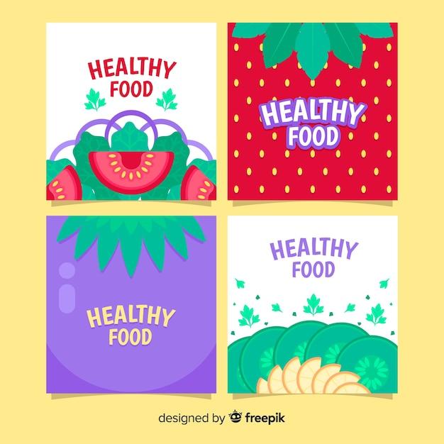 Коллекция пищевых карт Бесплатные векторы