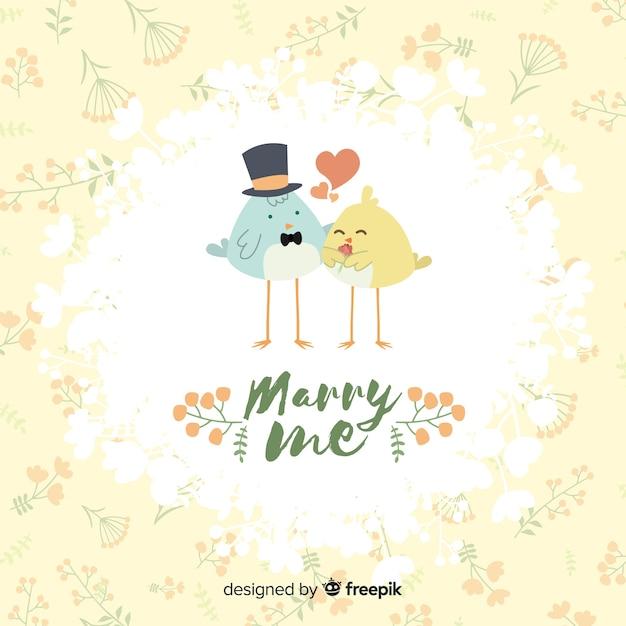 Выходи за меня замуж иллюстрация с милыми птицами Бесплатные векторы