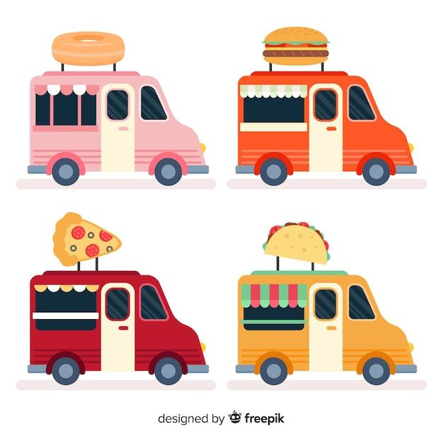 Коллекция продовольственных грузовиков Бесплатные векторы