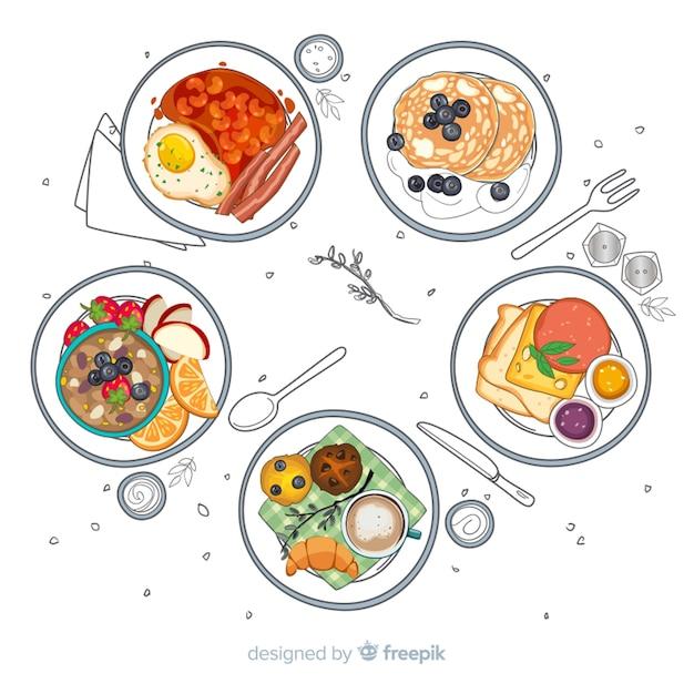 手描きの料理皿コレクション 無料ベクター