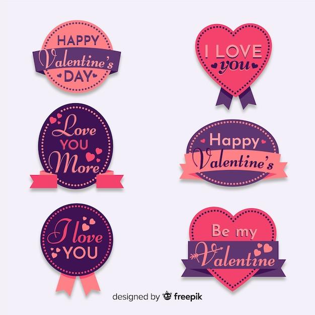 バレンタインデーレタリングバッジコレクション 無料ベクター