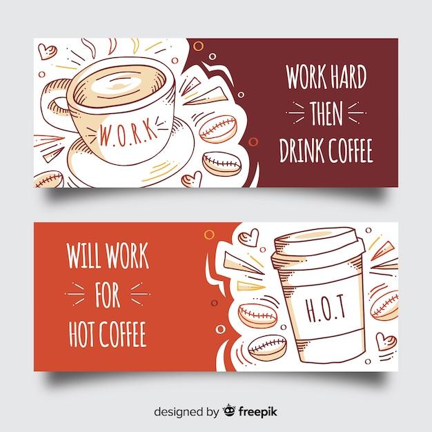 Ручной обращается кофе баннер Бесплатные векторы