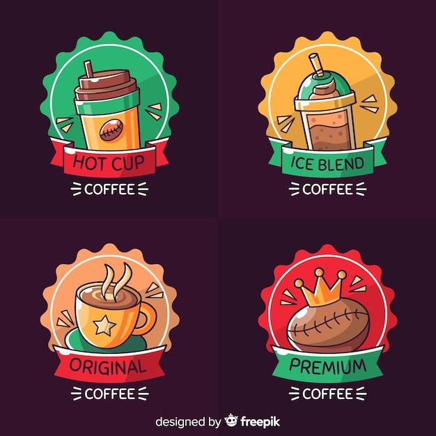 手描きのコーヒーのロゴセット 無料ベクター