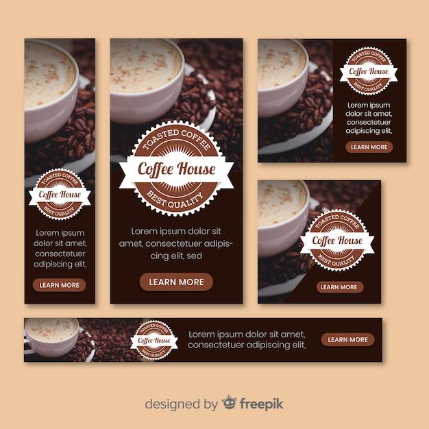 写真のコーヒーバナー 無料ベクター