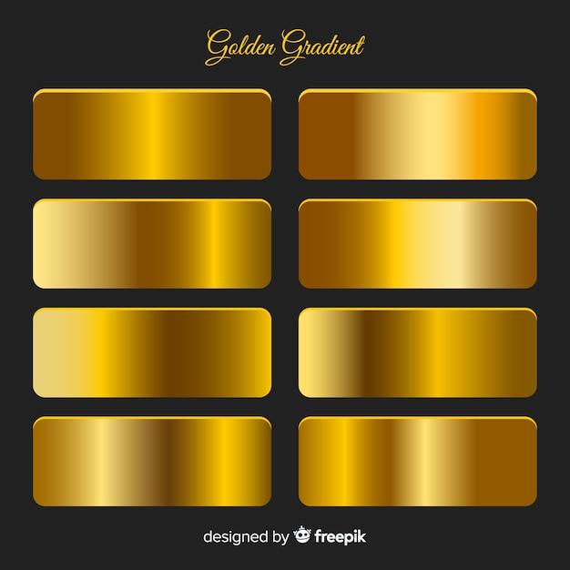 メタリックの質感のゴールドグラデーションセット 無料ベクター