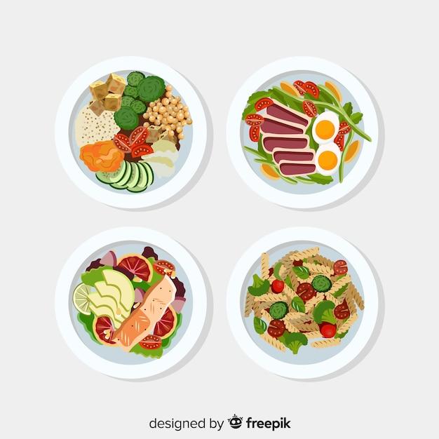 Коллекция плоских пищевых блюд Бесплатные векторы