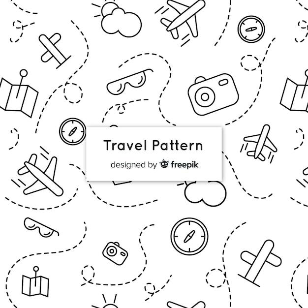 要素と破線で旅行パターン 無料ベクター