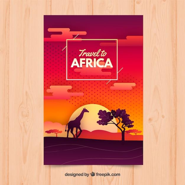アフリカ旅行チラシ 無料ベクター