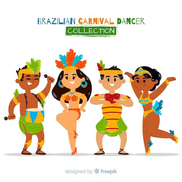 Симпатичная бразильская коллекция карнавальных танцовщиц Бесплатные векторы