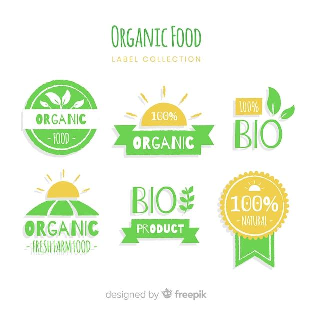 有機食品のラベルコレクション 無料ベクター