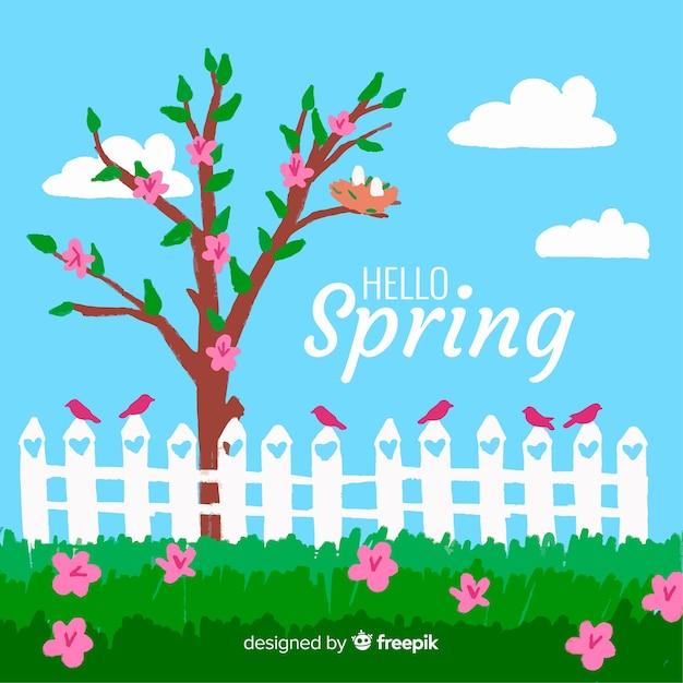 手描きの春の庭の背景 無料ベクター