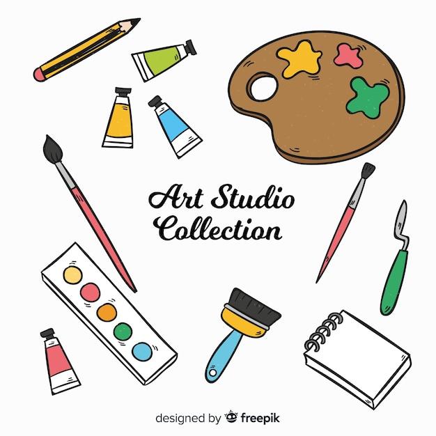 手描きアートスタジオの要素のコレクション 無料ベクター