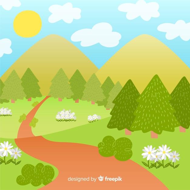手描きの森の春の背景 無料ベクター
