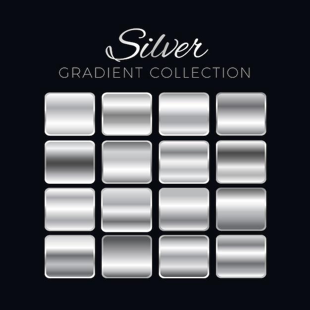 シルバーグラデーションブロックコレクション 無料ベクター