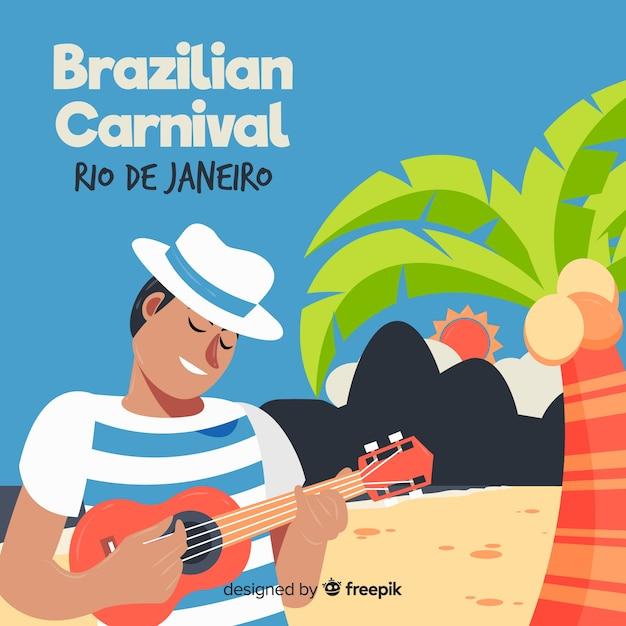 ブラジルのカーニバルの背景 無料ベクター