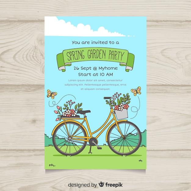 手描き自転車ガーデンパーティーポスター 無料ベクター