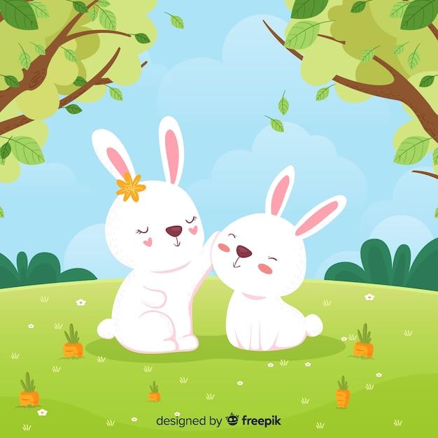 手描きのウサギの春の背景 無料ベクター