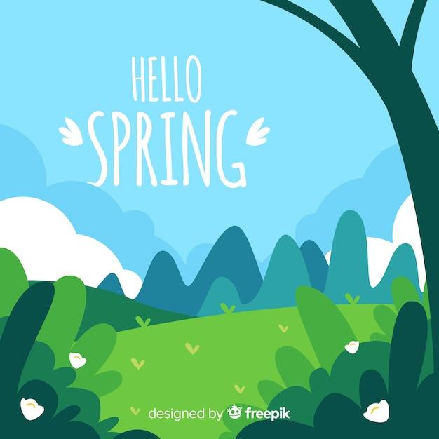 手を飲んだ風景春の背景 無料ベクター