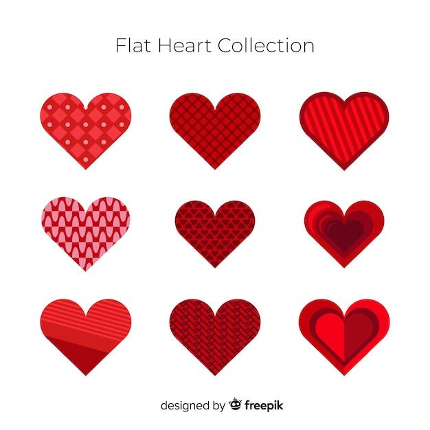 Плоская сердечная коллекция Бесплатные векторы