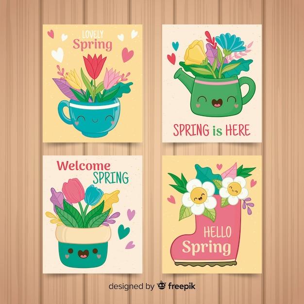 かわいい春カードコレクション 無料ベクター