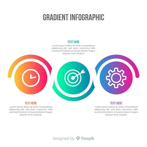 グラデーションインフォグラフィックの背景 無料ベクター